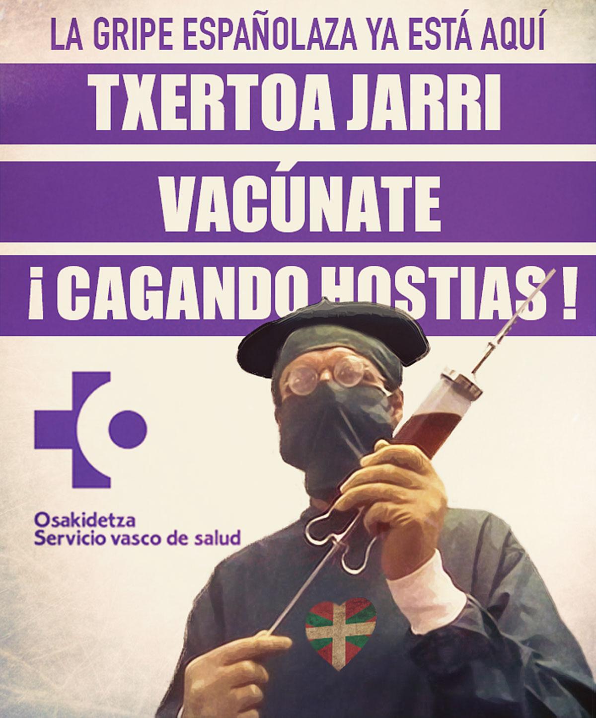 Cartel de la campaña de vacunación contra la gripe española